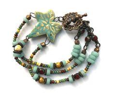 Boho Jewelry Beaded Bracelet Multi Strand by SheFliesAgain on Etsy