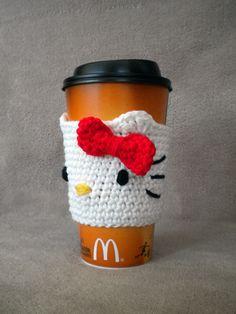Crochet Hello Kitty Coffee Cuff no pattern