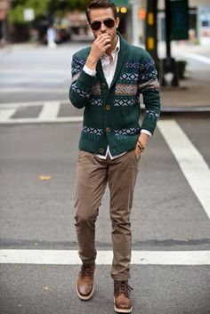 Shop this look for $153:  http://lookastic.com/men/looks/green-shawl-cardigan-and-white-dress-shirt-and-brown-boots-and-tan-chinos/631  — Green Fair Isle Shawl Cardigan  — White Dress Shirt  — Brown Leather Boots  — Khaki Chinos