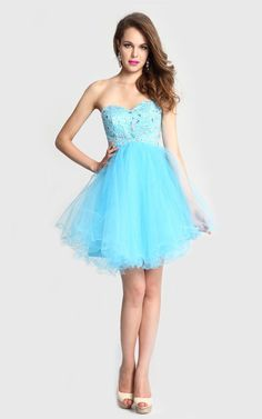A Line Beaded Tulle Blue Homecoming Dress 2014 WD 1099