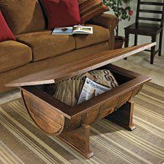 Handmade Vintage Oak Whiskey Barrel Coffee Table | DROOL'D