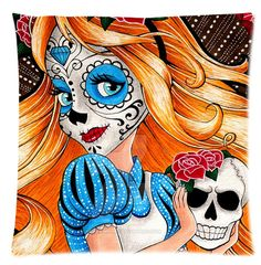 """Cotton and Polyester Two Sides Pillow cases with Day of the Dead Sugar Skull Pattern printing standard size 18"""" x 18"""" http://www.amazon.com/gp/product/B00YBRYI60"""