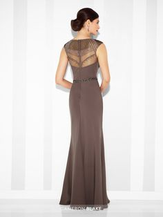 Cameron Blake - 117606 - Twill slim A-line gown with hand-beaded illusion slight cap sleeves and jewel neckline, sweetheart bodice, matching beaded illusion back, beaded natural waistline. Matching shawl included.Sizes: 4 – 20Colors: Smokey Mink, Cobalt Blue, Black
