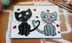Kittens In Love  Glitter Canvas by NocturnalPandie on Etsy