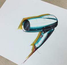 Hair dryer sketch & rendering
