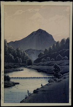 Kawase HASUI 1883-1957 - Japanese Woodblock Print. This is the first of three variants for this image, reference Narazaki #344a. It is a 'first state' print with the correct Watanabe 'D' seal.
