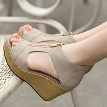 2016 Nuevo Estilo Sandalias de Mujer Zapatos de las mujeres Del Verano Cuñas de Plataforma de La Vendimia zapatos de Tacón Alto Del Dedo Del Pie Abierto Con Cremallera Sandalias Zapatos de Mujer(China (Mainland))