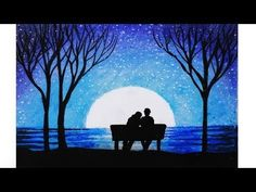 Drawing of the scenery of moonlight with oil pastels step by step - Nature drawing. Scenery drawing step by step. Drawing of nature, drawing of scenery. Easy Nature Paintings, Romantic Paintings, Scenery Paintings, Cute Paintings, Beautiful Paintings, Oil Pastel Colours, Oil Pastel Art, Oil Pastel Drawings, Colorful Drawings
