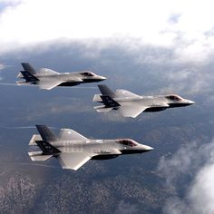 Lighting II fighter jets, assigned to the Weapons Squadron, at Nellis Air Force Base, NV., fly over the Nevada Test and Training Range. Stealth Aircraft, Fighter Aircraft, Military Jets, Military Aircraft, Fighter Pilot, Fighter Jets, F35 Lightning, Airplane Fighter, Jet Plane