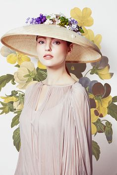 Natural fine straw 'Tiffany' bell hat with delicate flowers (R1683) Rachel Trevor Morgan Spring Summer 2016
