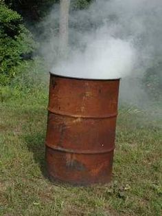 Burn Barrel.....sat in the corner....I picked up this habit from grandma and have used them whenever I was blessed enough to live in the country...KJR
