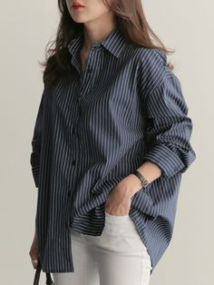 Button Down Collar Loose Fitting Stripes Blouses Fashion girls, party dresses long dress for short Women, casual summer outfit ideas, party dresses Fashion Trends, Latest Fashion # Look Fashion, Korean Fashion, Fashion Outfits, Fall Fashion, 90s Fashion, Trendy Fashion, Fashion Women, Latest Fashion, Fashion Tips