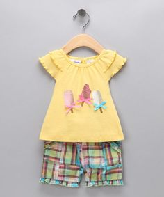 Take a look at this Yellow Popsicle Top & Shorts - Girls by Blow-Out on #zulily today!