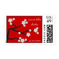 White Sakura Cherry Blossoms Wedding RSVP Stamp