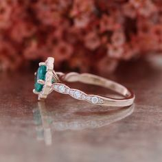 This stunningly unique engagement ring features a 6x6mm cushion cut conflict free cultured green emerald set in a solid 14k rose gold floral setting and finished in a scalloped $diamond band to complete its elegance. ** The listing price is for ONE engagement ring only **$1,495 etsy...........................................  ** Matching Wedding Band: https://www.etsy.com/listing/208657354/vintage-inspired-matching-diamond  ** Bridal Set: https://www.etsy.com&#