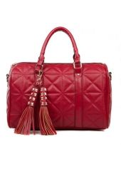 Shiny Rhombus Embossing Red Bride Bag with Fringe