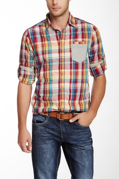 Multicolor Plaid Knit Pocket Shirt on HauteLook