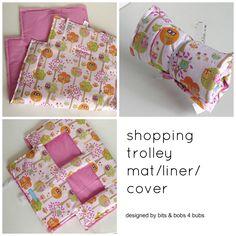 girls pink owl print pattern shopping trolley mat/liner/cover www.madeit.com.au/bitsandbobs4bubs