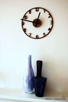 Naked wood wall clock cutout by Cufflinks Cowboys Wall Clock Design, Clock Wall, Wall Art, Handmade Wall Clocks, Walnut Veneer, Walnut Wood, Photography Store, Laser Engraving, Engraving Ideas