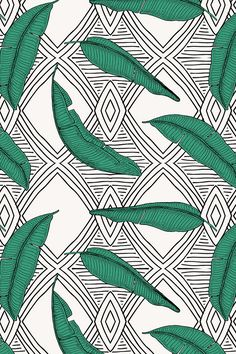ORINOCO_JUNGLE_LINE by holli_zollinger - Black and white geometric drawing with emerald green leaves. Beautiful boho jungle design in black, white, and leaf green.