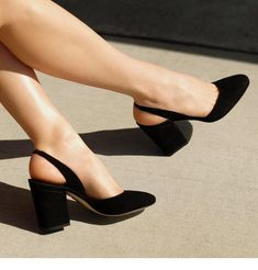 Relax and unwind in the minimal round toe PERUGIA sling-back in Black suede Source by rebecafraust shoes Sock Shoes, Cute Shoes, Me Too Shoes, Shoe Boots, Shoes Heels, Mid Heel Shoes, Dream Shoes, Black Heels, Fashion Shoes