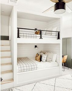 Bunk Bed Rooms, Bunk Beds Built In, Build In Bunk Beds, Modern Bunk Beds, Chambre Nolan, Style Me Pretty Living, Bunk Bed Designs, My New Room, Bedroom Decor