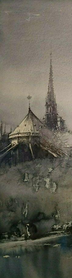 Jacek Jaroszewski- Notre-Dame (5)-watercolour 56x16 cm, 2017