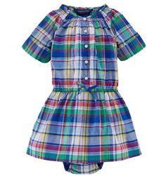 NWT Ralph Lauren Baby Girls Madras Plaid Shirtdress and Bloomers Set Outfit 12 M #RalphLauren #DressyEveryday