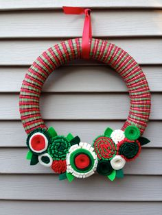 Christmas Wreath Wrapped in Holiday Plaid Ribbon by stringnthings
