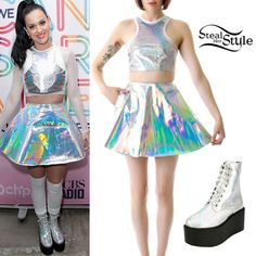 Katy Perry's replica of gamma ray skirt, crop top and shoes, this would be a good costume to wear to her up coming prismatic tour
