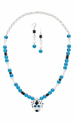 Single-Strand Necklace and Earring Set with Lampworked Glass Pendant, Czech Pressed Glass Beads and Silver-Plated Brass Chain
