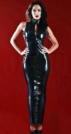 Long latex front zip hobble dress