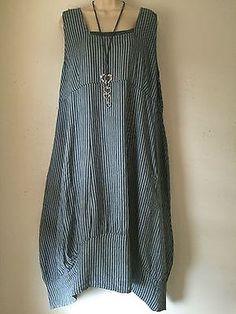 Quirky-Lagenlook-Balloon-hem-Linen-Pinstripe-dress-Plus-size-16-18-Denim-Blue