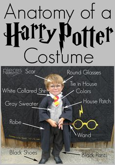 Pieces by Polly: DIY Harry Potter Costume - Hogwarts Student Costume Toddler Harry Potter Costume, Harry Potter Halloween Costumes, Harry Potter Cosplay, Diy Halloween Costumes, Halloween Fun, Costume Ideas, Kids Costumes Boys, Boy Costumes, Harry Potter Theme