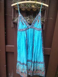 ☯☮ॐ American Hippie Bohemian Style ~ Boho Turquoise Summer Slip Dress!