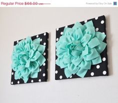 "NEW YEARS SALE Wall Hangings Set Of Two -Mint Green Dahlia Flowers on Black and White Polka Dot Print 12 x12"" Canvas Wall Art- Baby Nursery"