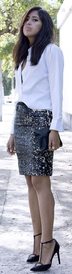 #Sequin #Pencil #Skirt by Brunette Braid => Click to see what she wears