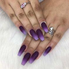 Matte Purple Ombre Coffin Nails