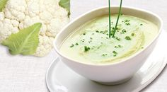 a bowl of creamy cauliflower soup with fresh chives Cauliflower Leek Soup Recipe, Vegan Cauliflower, Soup Recipes, Vegan Recipes, Cooking Recipes, Easy Recipes, Amazing Recipes, Celery Soup, Fennel Soup