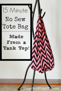 DIY No Sew Tote Bag Idea - made from a tank top! Perfect to use as a reusable grocery bag! #nosew #nosewtotebag #upcycletanktop #upcycle #diytotebag #diynosewtotebagidea Projects For Kids, Sewing Projects, Crafts For Kids, Craft Projects, Craft Ideas, Diy Ideas, Diy Tote Bag, Tote Bags, Sew Bags