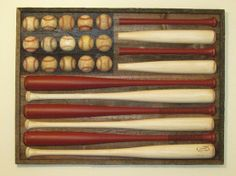 baseball flag... this would go awesome with the Texas flag my brother and I made out of baseballs.