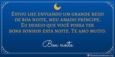 Cartão lua: Estou lhe enviando um grande beijo de boa noite, meu amado príncipe. Eu desejo que você possa ter bons sonhos esta noite. Te amo muito. http://www.lindasfrasesdeamor.org/mensagens/amor/boa-noite