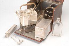 Officers tea kit with a spirit burner stove