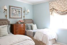 Love the color of the walls with the shades
