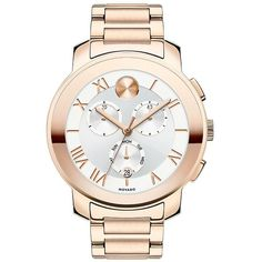 Movado Bold Women's Bold Luxe Chronograph Rose Goldtone IP Stainless... ($521) ❤ liked on Polyvore featuring jewelry, watches, rose gold, chronograph wrist watch, white bracelet watch, movado watches, chronograph watches and white chronograph watch