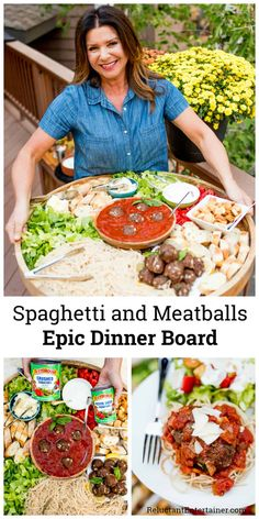 For cozy hosting, enjoy a Spaghetti and Meatballs Epic Dinner Board, made with t. For cozy hosting, enjoy a Spaghetti and Meatballs Epic Dinner Board, made with the best tasting Easy Dinner Recipes, Pasta Recipes, Appetizer Recipes, Cooking Recipes, Party Appetizers, Healthy Recipes, Charcuterie And Cheese Board, Charcuterie Platter, Cheese Boards
