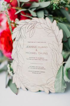 "Our wedding was in a botanical garden on a spring afternoon, so we wanted the invitations to reference a lush, organic, leafy motif without going overboard. After a lot of trial and error, a custom vector illustration was laser cut into thin 1/64"" birch s…"