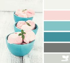 Pink, teal and gray color palette, guest bath