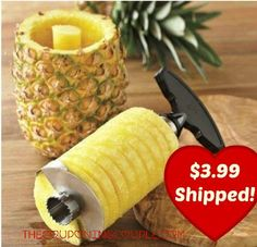 Get a great deal on a Pineapple Corer Slicer! Perfect for those fresh fruit salads! Make preparing fresh pineapple simple! Never use a knife again after you have used the Pineapple Corer Slicer!  Click the link below to get all of the details ► http://www.thecouponingcouple.com/pineapple-corer-slicer-only-3-35-shipped/  #Coupons #Couponing #CouponCommunity  Visit us at http://www.thecouponingcouple.com for more great posts!
