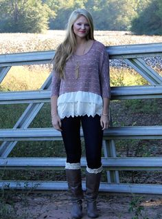 We love this hanging around top with lace bottom! The top is so cute paired with jeans, boots, and boot socks! It is fun and flirty and perfect for this fall season! The color is perfect and the sweater material is warm and cozy! Our model is wearing a small! 56%polyester/41%rayon/3%spandex